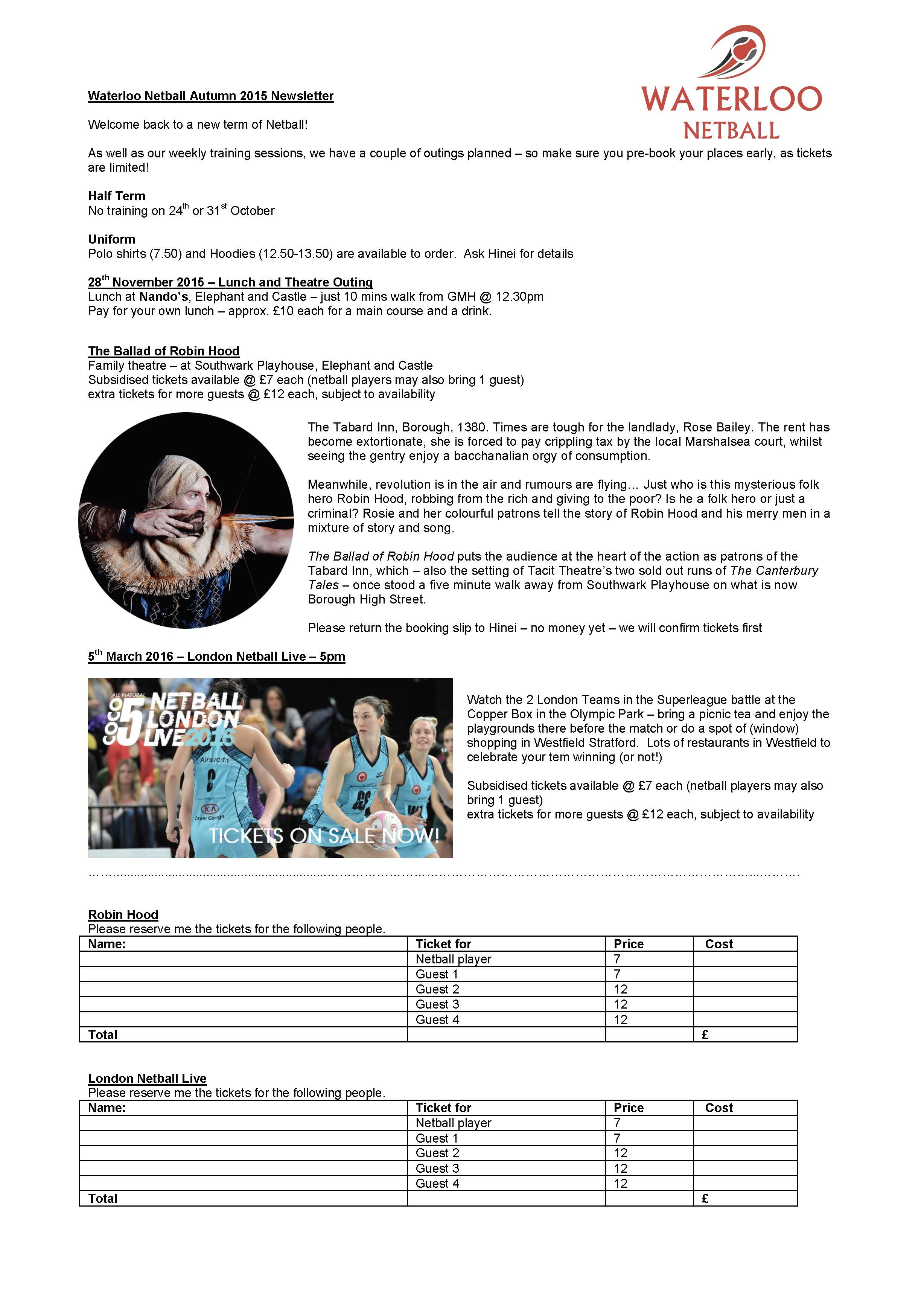 Waterloo Netball Autumn Newsletter  2015